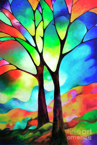 Colored Glass Painting - Two Trees by Sally Trace