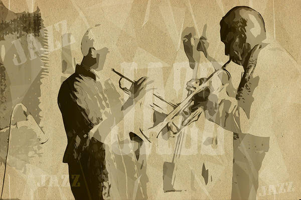 Trumpet Mixed Media - Two Trumpeter. Jazz Club Poster by Konstantin Sevostyanov