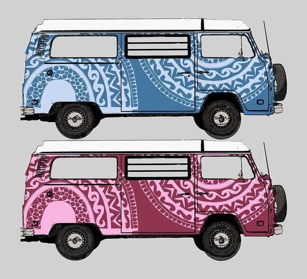 Digital Art - Two Vw Vans by Piotr Dulski