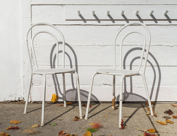 Photograph - Two White Chairs And Autumn Wind by Gary Slawsky