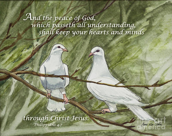 Painting - Two White Doves Philippians by Janis Lee Colon