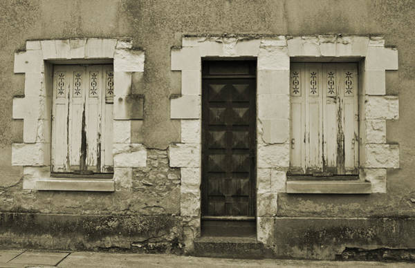 Photograph - Two Windows And A Door Sepia by Jani Freimann