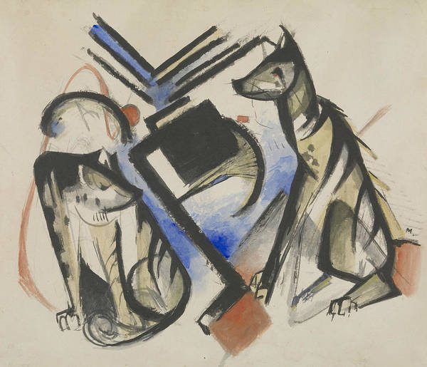 The Blue Rider Wall Art - Painting - Two Wolves by Franz Marc