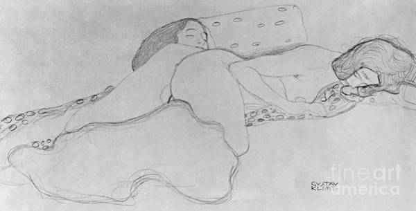 Sensual Drawing - Two Women Asleep by Gustav Klimt