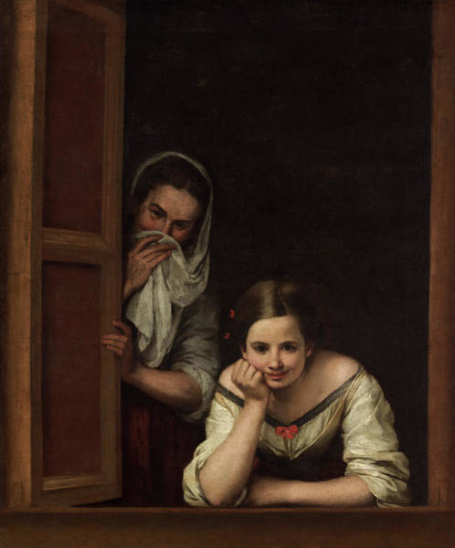 Painting - Two Women At A Window by Bartolome Esteban Murillo
