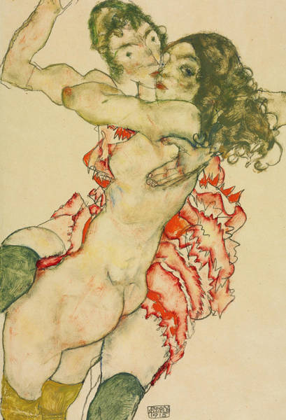 Drawing - Two Women Embracing  by Egon Schiele