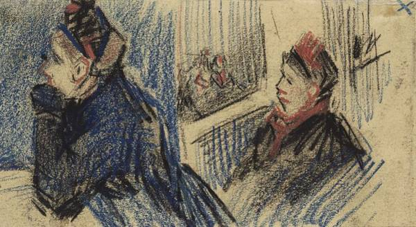 Painting - Two Women In A Balcony Box Antwerp, December 1885 Vincent Van Gogh 1853  1890 by Artistic Panda