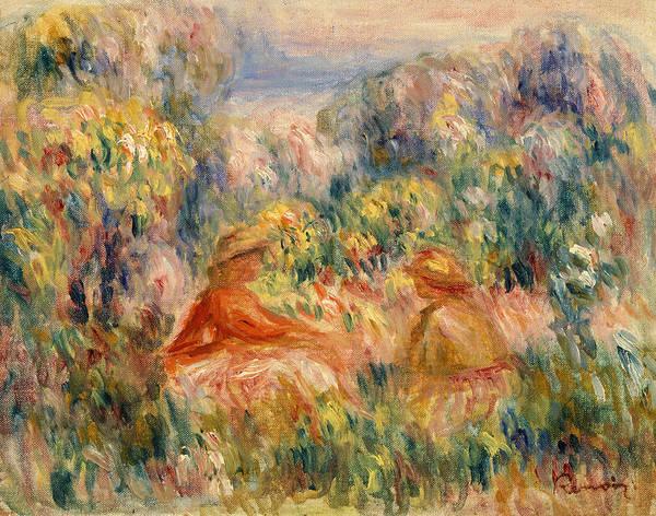 Rural Life Wall Art - Painting - Two Women In A Landscape by Pierre-Auguste Renoir