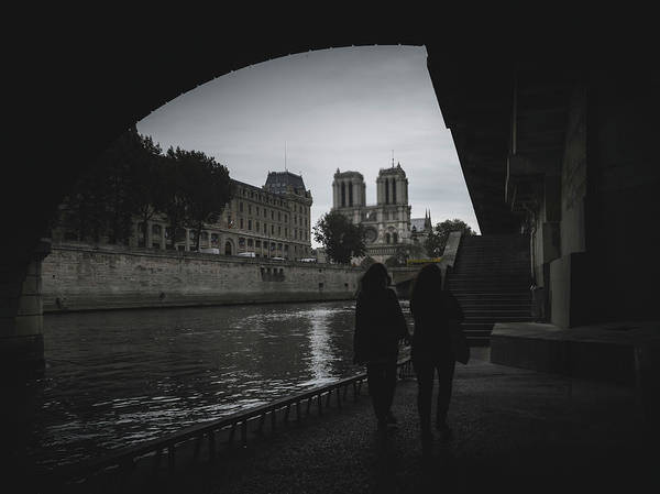 Photograph - Two Women Near The Notre Dame, Paris, France by Alexandre Rotenberg