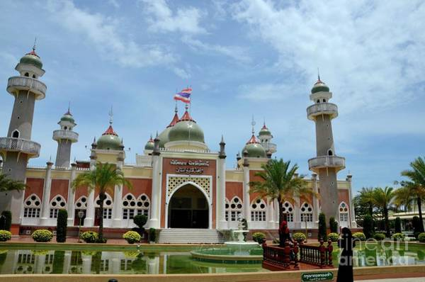 Photograph - Two Women Pose At Pattani Central Mosque Courtyard With Pond Minarets And Thai Flag Thailand by Imran Ahmed