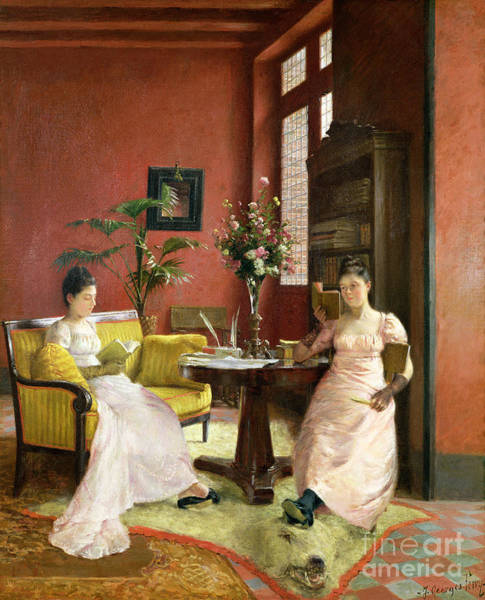 Woman Reading Wall Art - Painting - Two Women Reading In An Interior  by Jean Georges Ferry