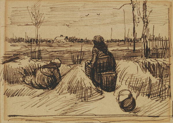 Developed Painting - Two Women Working In The Fields, 1885 by Vincent Van Gogh