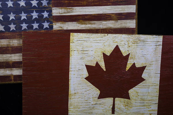 Merge Wall Art - Photograph - Two Wooden Flags American And Canadian by Garry Gay