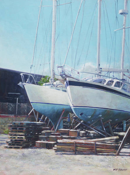 Wall Art - Painting - Two Yachts Receiving Maintenance In A Yard by Martin Davey
