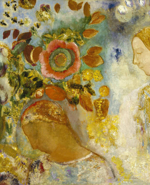 Painting - Two Young Girls Among Flowers, 1912 by Odilon Redon