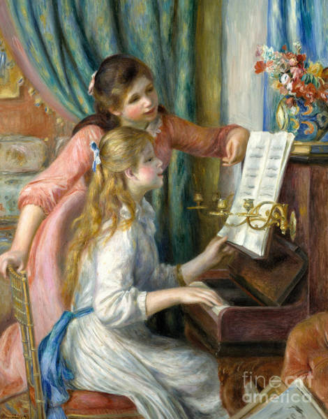 Wall Art - Painting - Two Young Girls At The Piano, 1892  by Pierre Auguste Renoir