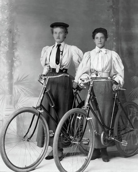 Two Young Ladies With Their Bicycles Circa 1895 Art Print