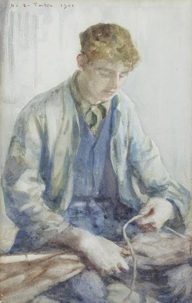 Painting - Tying The Sail by Henry Scott Tuke