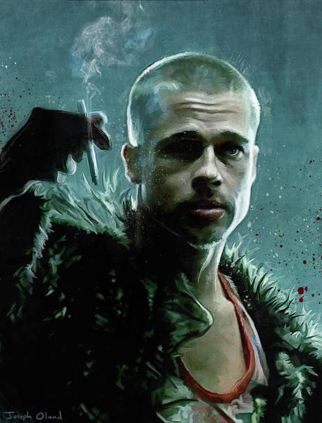 Wall Art - Painting - Tyler Durden Smokes A Cigarette - Fight Club by Joseph Oland