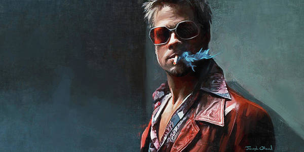 Wall Art - Painting - Tyler Durden Smokes - Fight Club by Joseph Oland