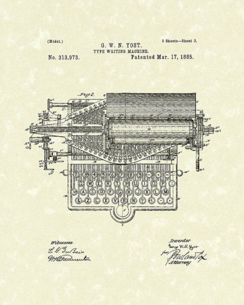 1885 Wall Art - Drawing - Type Writer 1885 Patent Art by Prior Art Design