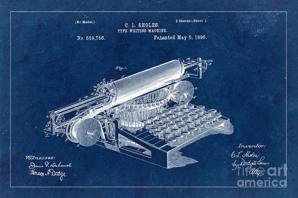 Wall Art - Photograph - Type Writing Machine Patent From 1896 - Blue by Delphimages Photo Creations