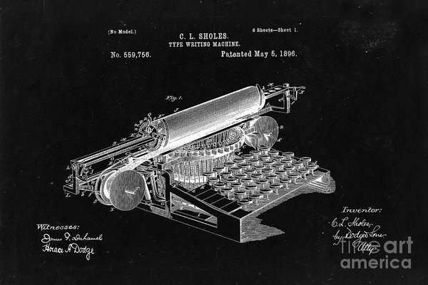 Wall Art - Photograph - Type Writing Machine Patent From 1896  - Black by Delphimages Photo Creations