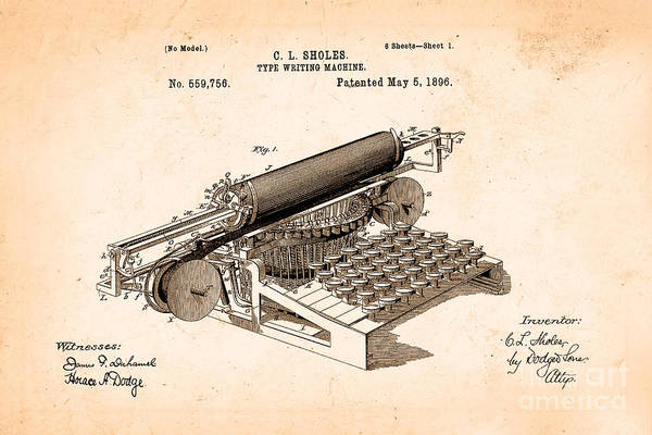 Wall Art - Photograph - Type Writing Machine Patent From 1896 by Delphimages Photo Creations