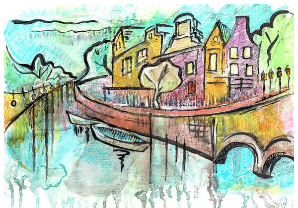 Drawing - typical Amsterdam by Ariadna De Raadt
