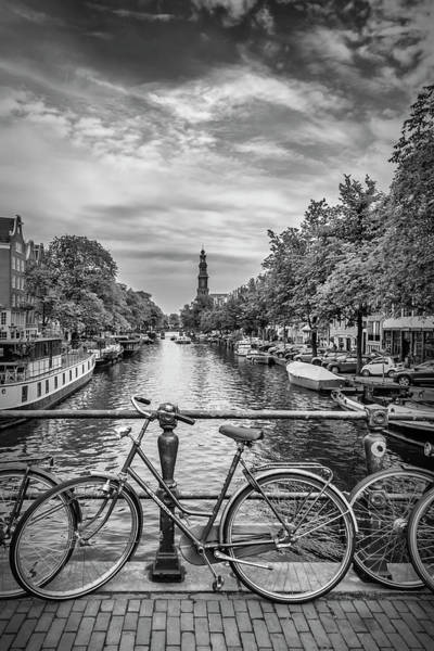 Prinsengracht Photograph - Typical Amsterdam - Monochrome by Melanie Viola