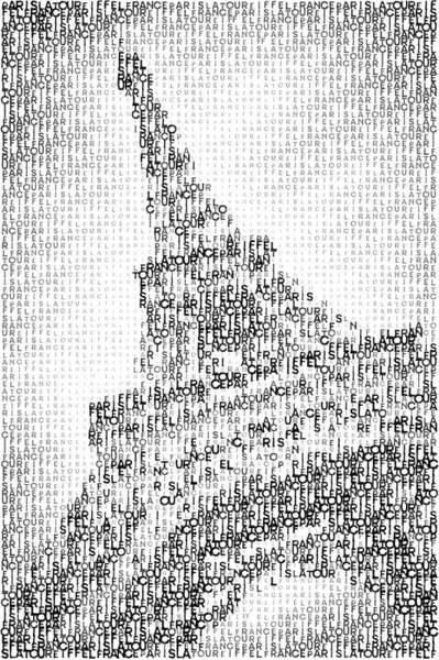 Wall Art - Digital Art - Typographic Art - Paris Eiffel Tower  by Melanie Viola