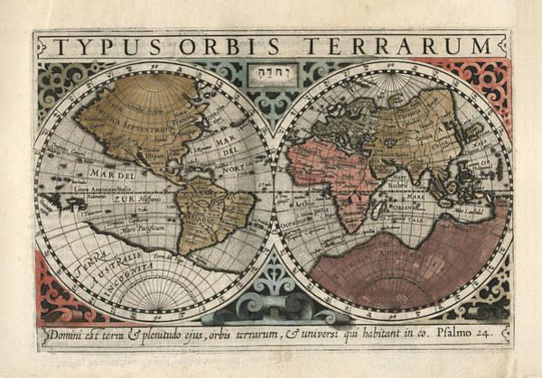 Wall Art - Drawing - Typus Orbis Terrarum - Gerhard Mercator - 1607 - Historical Chart by Studio Grafiikka