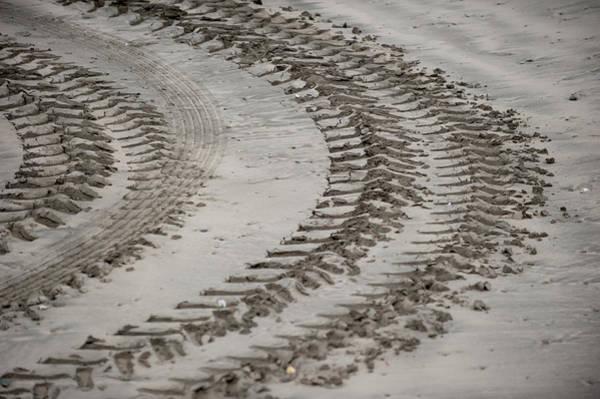 Photograph - Tyre Tracks On The Beach by Helen Northcott
