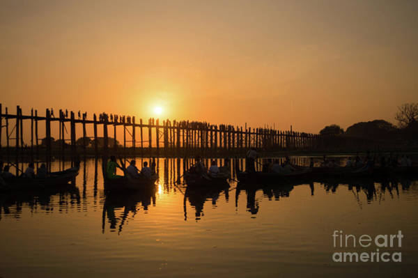 Lake Louise Wall Art - Photograph - U Bein Bridge At Sunset by Louise Poggianti