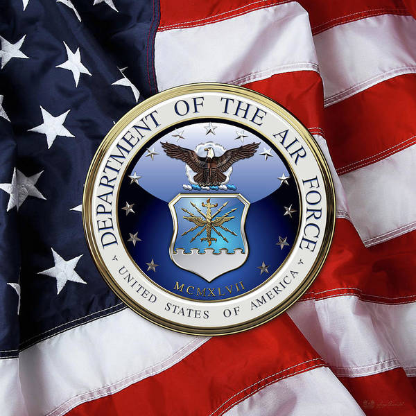 Digital Art - U. S.  Air Force  -  U S A F Emblem Over American Flag by Serge Averbukh
