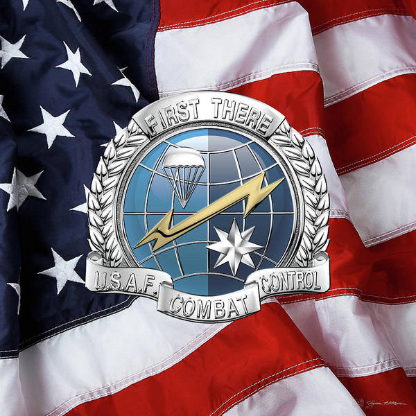 Digital Art - U. S.  Air Force Combat Control Teams - Combat Controller C C T Badge Over American Flag by Serge Averbukh