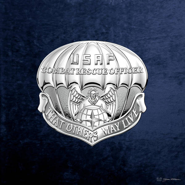 Digital Art - U. S.  Air Force Combat Rescue Officer - C R O Badge Over Blue Velvet by Serge Averbukh