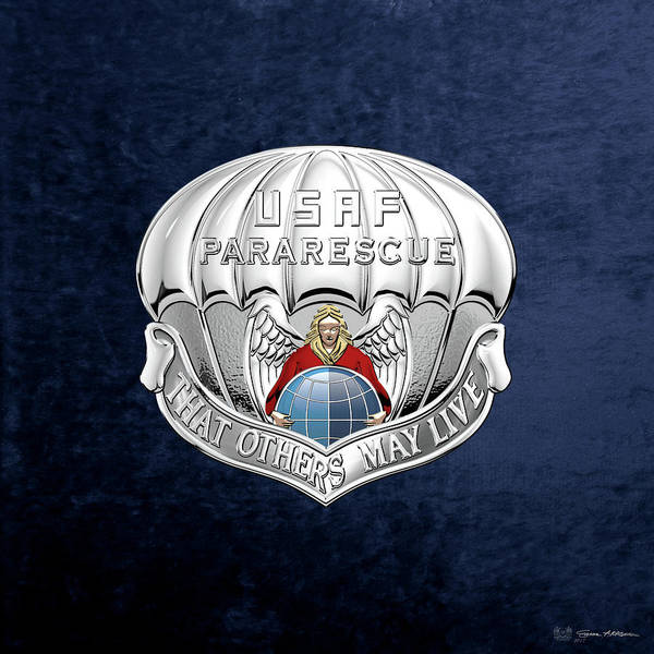 Digital Art - U. S.  Air Force Pararescuemen - P J Badge Over Blue Velvet by Serge Averbukh