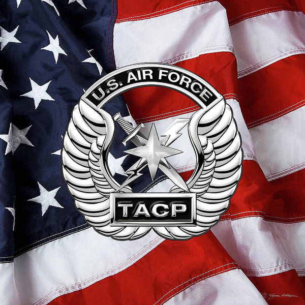 Digital Art - U. S.  Air Force Tactical Air Control Party -  T A C P  Badge Over American Flag by Serge Averbukh