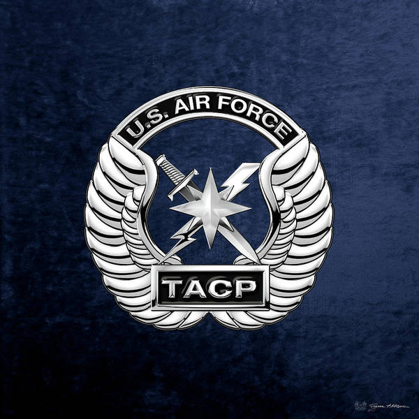 Digital Art - U. S.  Air Force Tactical Air Control Party -  T A C P  Badge Over Blue Velvet by Serge Averbukh