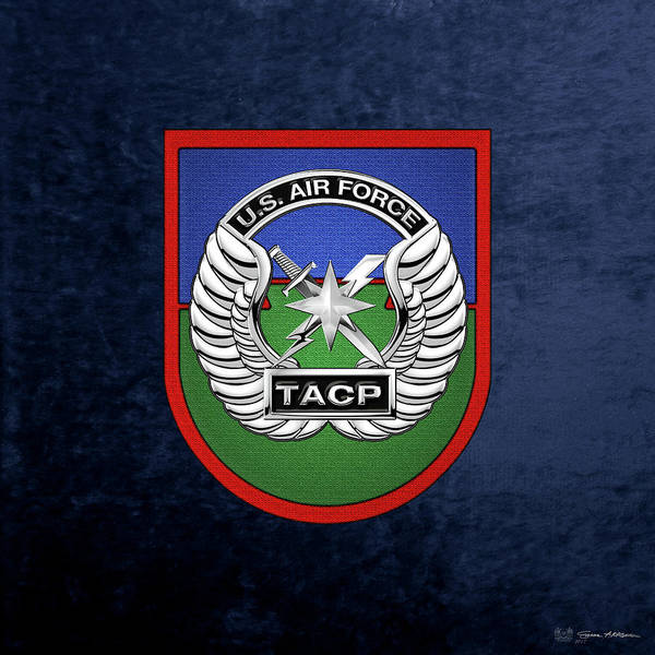 Digital Art - U. S.  Air Force Tactical Air Control Party -  T A C P  Beret Flash With Crest Over Blue Velvet by Serge Averbukh