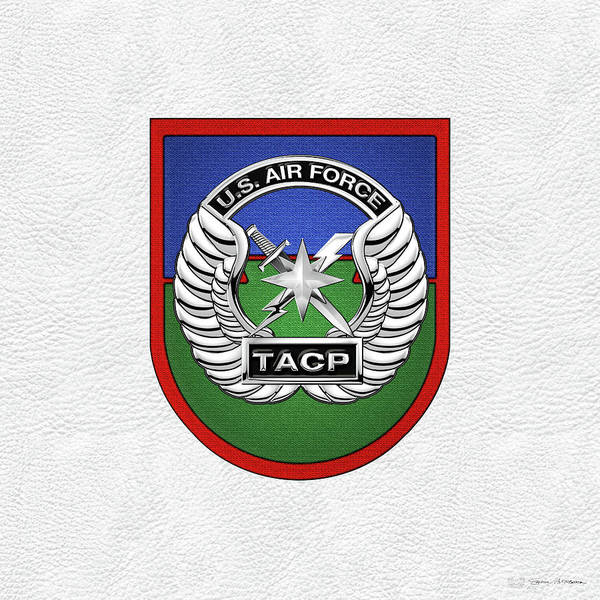 Digital Art - U. S.  Air Force Tactical Air Control Party -  T A C P  Beret Flash With Crest Over White Leather by Serge Averbukh