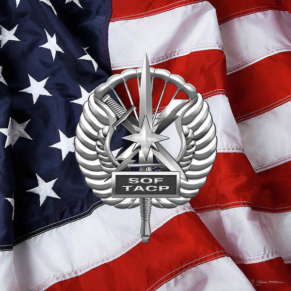 Digital Art - U. S.  Air Force Tactical Air Control Party - Usaf Special Tactics Tacp Badge Over American Flag by Serge Averbukh