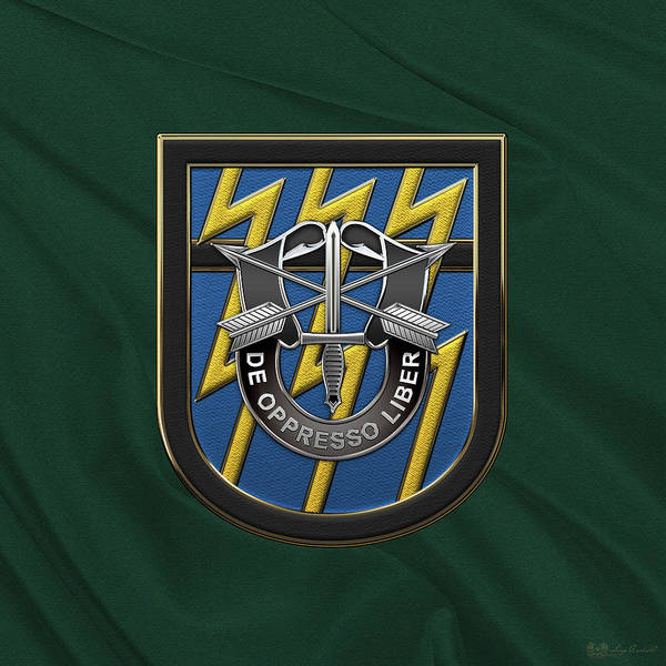 Digital Art - U. S.  Army 12th Special Forces Group - 12 S F G  Beret Flash Over Green Beret Felt by Serge Averbukh