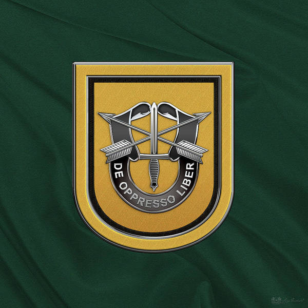 Digital Art - U. S.  Army 1st Special Forces Group - 1  S F G  Beret Flash Over Green Beret Felt by Serge Averbukh