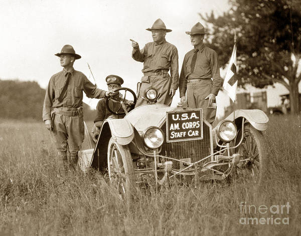 Photograph - U. S. Army  Ambulance Corps Wwi As Staff Cars Circa 1918 by California Views Archives Mr Pat Hathaway Archives