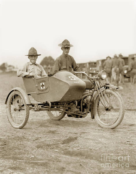 Photograph - U. S. Army Motorcycle Ambulance Corps Ww I  1918 by California Views Archives Mr Pat Hathaway Archives