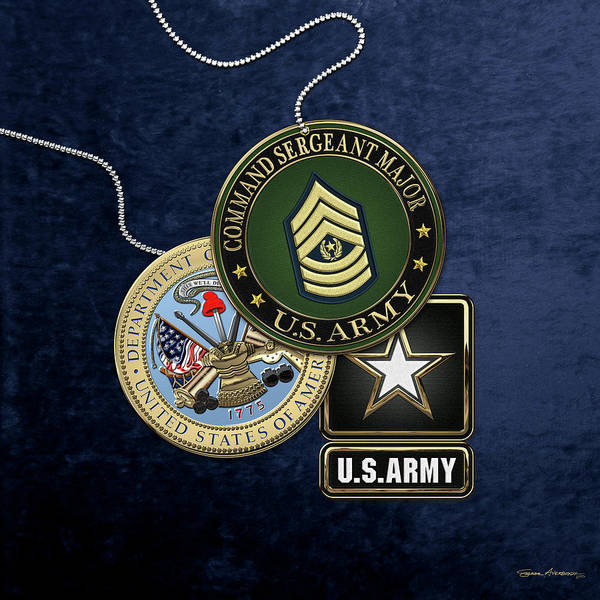 Digital Art - U. S. Army Command Sergeant Major -  C S M  Rank Insignia With Army Seal And Logo Over Blue Velvet by Serge Averbukh