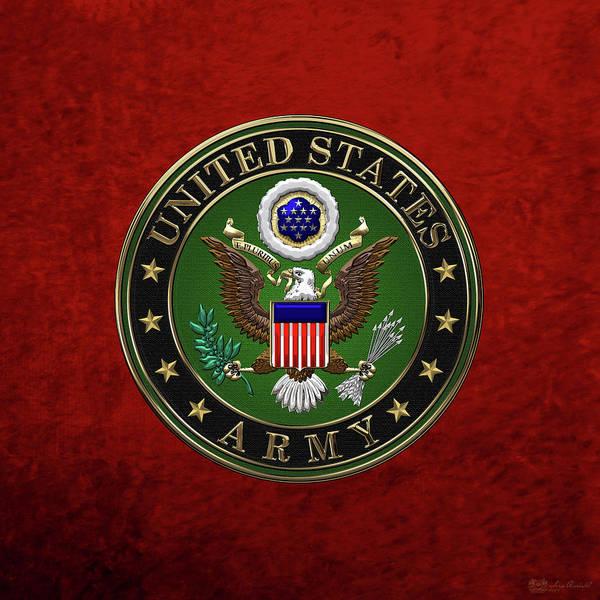 Digital Art - U. S.  Army Emblem Over Red Velvet by Serge Averbukh
