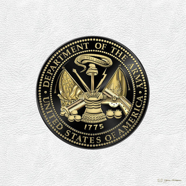 Digital Art - U. S. Army Seal Black Edition Over White Leather by Serge Averbukh